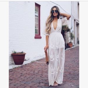 Honey Punch Lace Maxi Dress in White